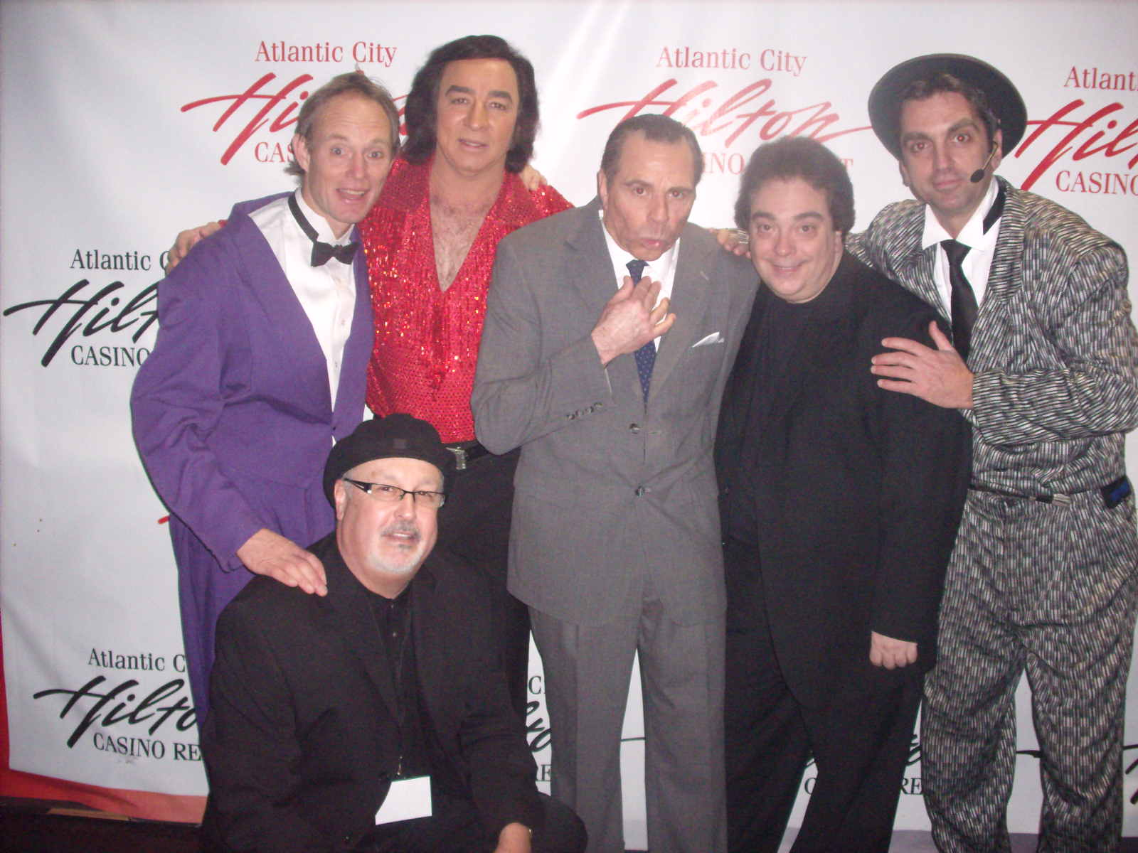 Cast of A Really Big Shew at the Hilton Casino Resort in Atlantic City: Tom Sadge; Glen Singer; Jeff DeHart; Hendrick; Pete Michaels along with Gene Siler, Siler Associates (producer). Photo: Marion Sadge, webmaster TomSadge.com