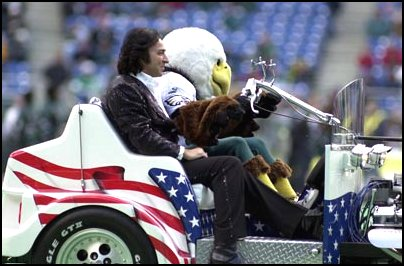 Neil Diamond impersonator Tom performed at Veterans' Stadium in Philadelphia for the Philly Eagles vs Dallas Cowboys game.