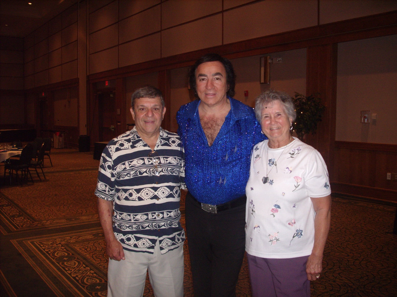Tom Sadge is pictured as Neil Diamond with Frank S., and his wife of New Bern NC. Thank you, Frank! Photo: Marion Sadge