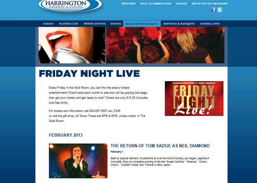 Tom Sadge and his tribute band performed at Harrington Casino and Raceway in Delaware - two shows - great audience!.