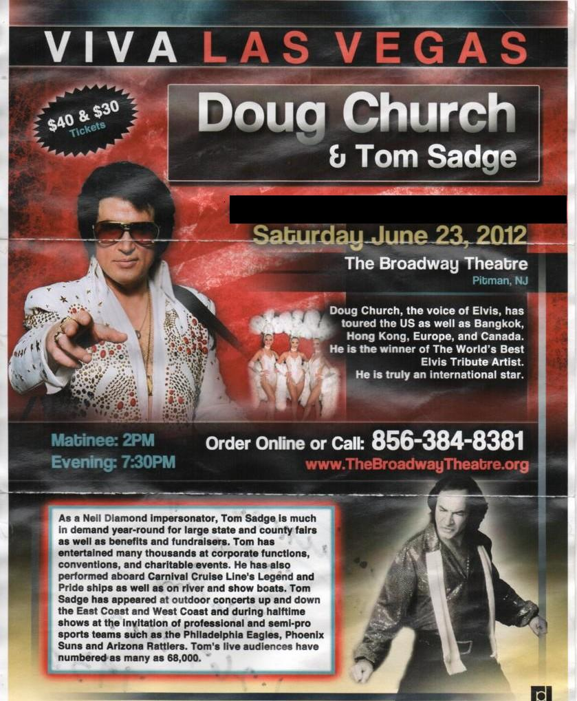 Tom Sadge performed as Neil Diamond with Elvis impersonator Doug Church in Pitman, NJ.