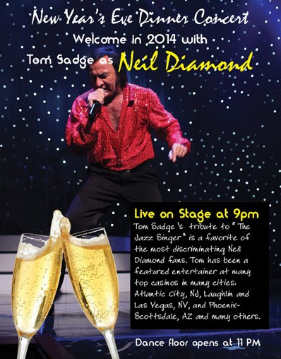 Tom Sadge performing as Neil Diamond on New Years Eve 2013.