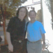 Tom Sadge with Neil Diamond band member, Doug Rhone.