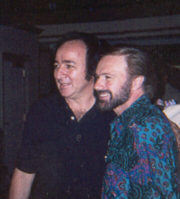 Tom Sadge with Hadley Hockensmith of Neil Diamond's band. Border=