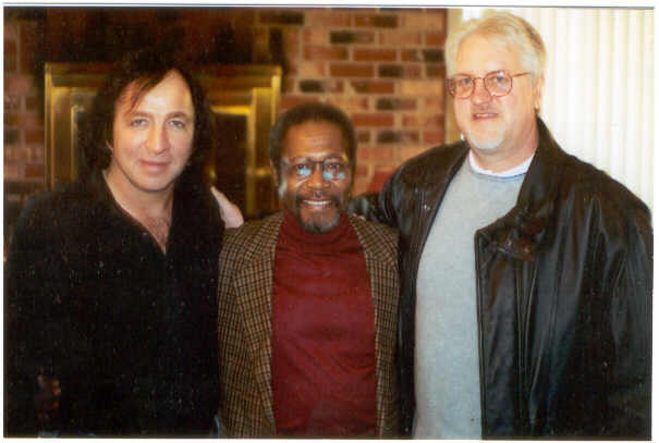 Tom Sadge with Vince Charles of Neil Diamond's band and Jerry Kishbaugh, columnist.